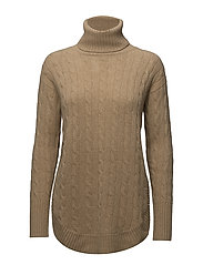 Turtleneck Cable-Knit Sweater - CAMEL MELANGE