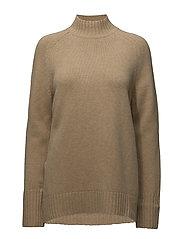Wool-Cashmere Mockneck Sweater - CAMEL MELANGE