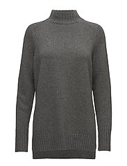 Wool Cashmere Mockneck Sweater - ANTIQUE HEATHER