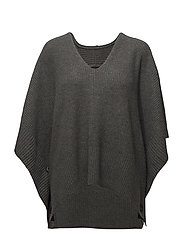 Buttoned Poncho Sweater - ANTIQUE HEATHER