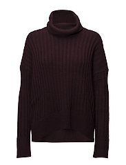 Alpaca-Wool Turtleneck Sweater - AGED WINE