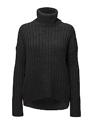 Alpaca-Wool Turtleneck Sweater - CHARCOAL HEATHER