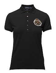 Bullion Crest Mesh Polo Shirt - POLO BLACK