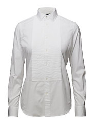 Broadcloth Cotton Tuxedo Shirt - WHITE