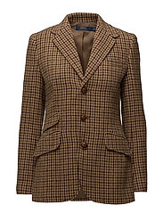 Wool Houndstooth Blazer - BROWN