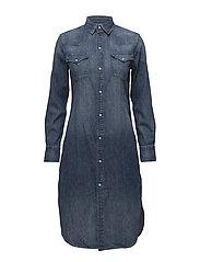 Denim Western Shirt Dress - LIGHT INDIGO