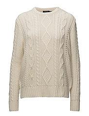Aran-Knit Buttoned Sweater - CREAM