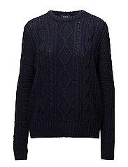 Aran-Knit Buttoned Sweater - HUNTER NAVY