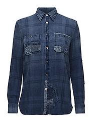 Patchwork Plaid Shirt - INDIGO PATCHWORK