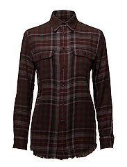 Relaxed Plaid Flannel Shirt - 406 WINE/BLACK