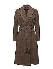 Tweed Open-Front Trench Coat - BROWN