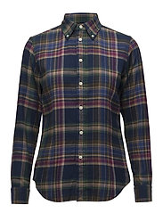 Classic Fit Plaid Twill Shirt - 401 NAVY/GREEN