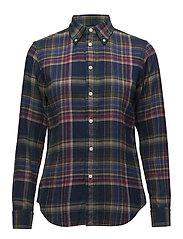 Classic Fit Plaid Twill Shirt - 401 NAVY/GREEN