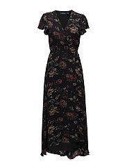 Silk Georgette Wrap Maxidress - MIDNIGHT GARDEN F