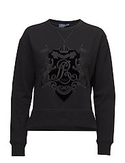 Velvet-Crest Fleece Sweatshirt - POLO BLACK