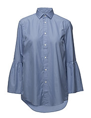 Cotton Bell-Sleeve Shirt - 458 BLUE/WHITE