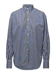Striped Cotton Boyfriend Shirt - 459 ROYAL BLUE/WH
