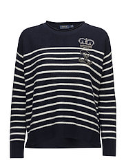 Striped Embroidered Sweater - NAVY/CREAM