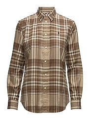 Relaxed Fit Plaid Twill Shirt - 453 CAMEL/CREAM
