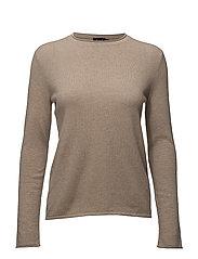 Cashmere Long-Sleeve Sweater - TRUFFLE MELANGE