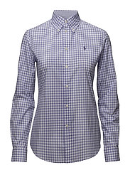 Slim Fit Gingham Poplin Shirt - 566B PLUM/WHITE