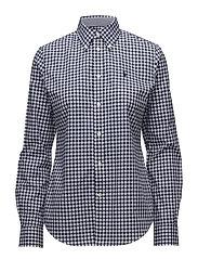 Slim Fit Gingham Poplin Shirt - 566F NAVY/WHITE