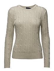 Metallic Cable-Knit Sweater - METALLIC TAUPE
