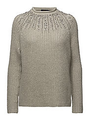 WOOL/CASH SPARKLE-LSL-SWT - METALLIC TAUPE