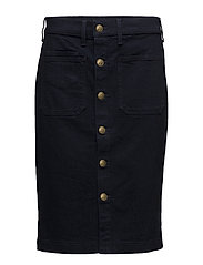 Stretch Denim Pencil Skirt - DARK INDIGO