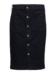 Stretch Denim Pencil Skirt - DARK INDIGO