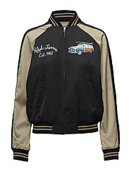 Hawaii Satin Bomber Jacket - POLO BLACK