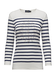 Striped Ribbed Cotton T-Shirt - LIGHT NAVY/NEVIS