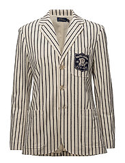 Striped Cotton Knit Blazer - WINTER CREAM/INK