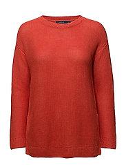 Linen Crewneck Sweater - TOMATO