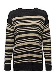 Striped Linen Sweater - BLACK/DARK CREAM