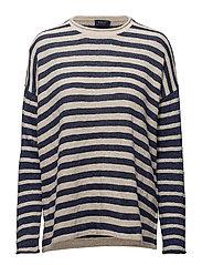 Cotton-Blend Striped Sweater - CREAM/BLUE