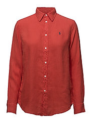 Relaxed Fit Linen Shirt - TOMATO