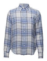 Boy Fit Linen Shirt - 622 BLUE/WHITE
