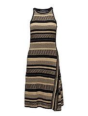 Sleeveless Wrap Dress - TAN/BLACK