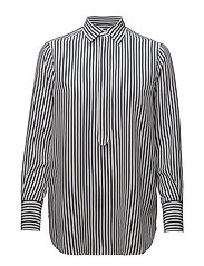 Striped Silk Shirt - LT NAVY/NEVIS STR