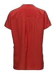 Band-Collar Silk Crepe Blouse - TOMATO