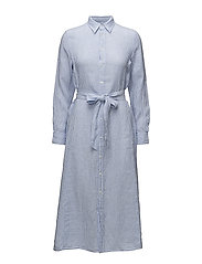 Striped Linen Shirtdress - LT BLUE/WHITE CLA