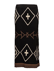 Geometric Linen-Blend Skirt - BLACK/TAN