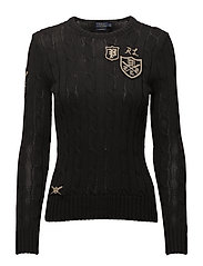 Patchwork Cable Cotton Sweater - POLO BLACK