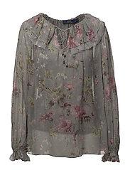 Sheer Silk Floral Blouse - ELTON FLORAL