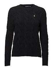 Cable-Knit Cotton Sweater - POLO BLACK