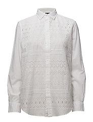 Eyelet Cotton Poplin Shirt - WHITE