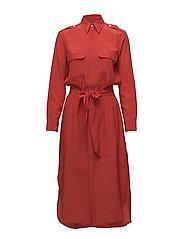 Belted Silk Shirtdress - TOMATO