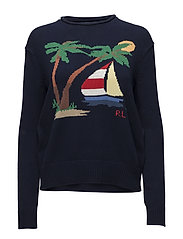 Boat Cotton Rollneck Sweater - NAVY MULTI