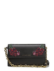 EMBROIDERED LEATHER-CHAIN WALLET-WL - BLACK